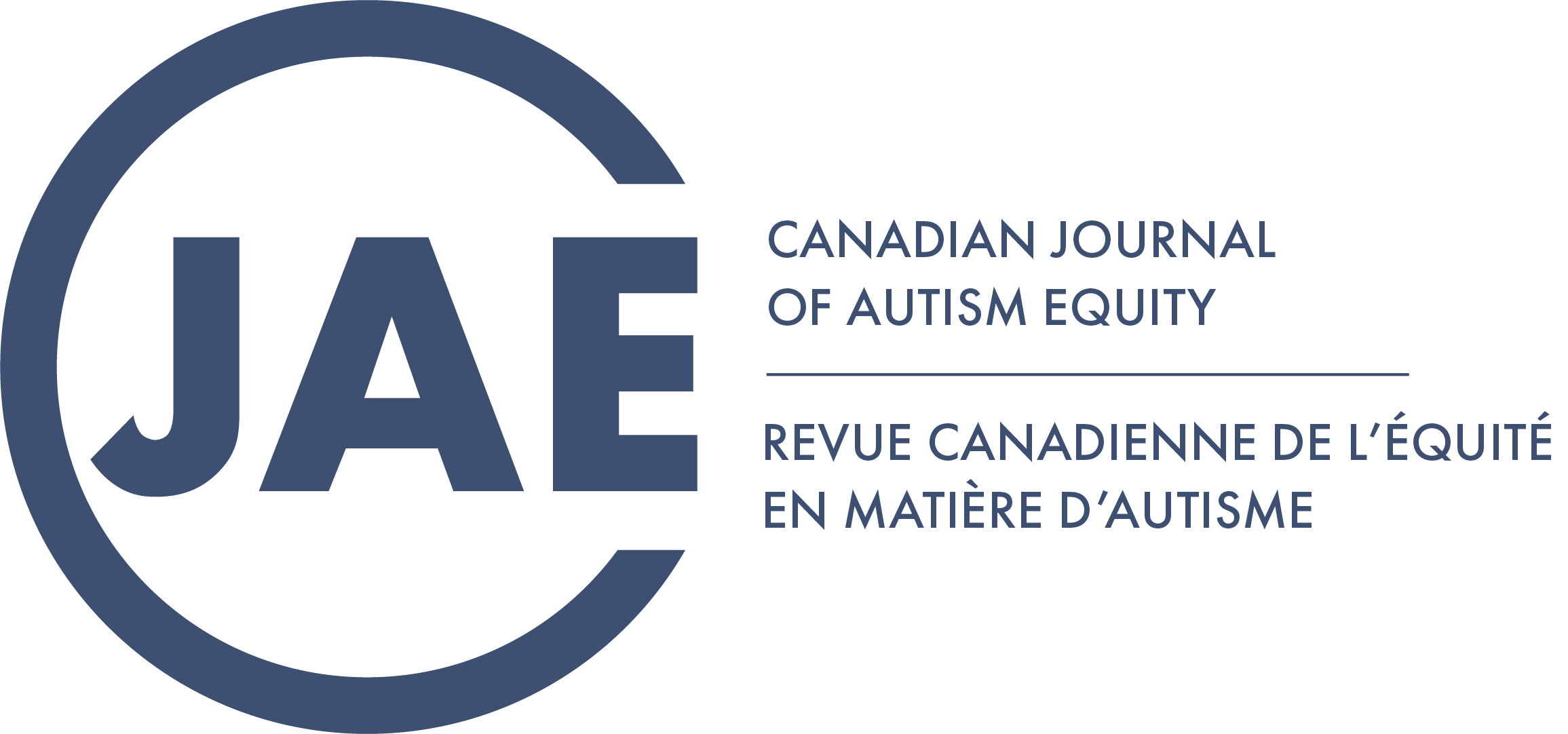 "The Canadian Journal of Autism Equity Logo, featuring a large ""C"" enclosing the letters ""JAE"". To the right it states, ""Canadian Journal of Autism Equity"" and, ""Journal Canadien pour l'Equite en Autisme""."